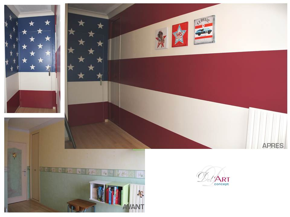 D co chambre drapeau americain exemples d 39 am nagements for Decoration maison americaine