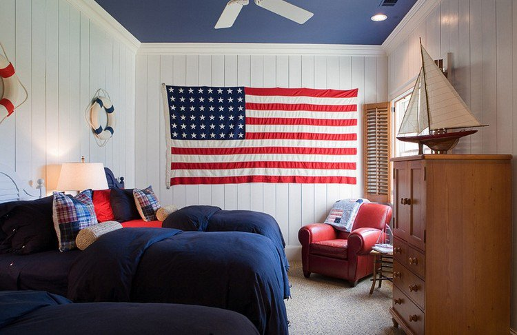 D co chambre drapeau americain exemples d 39 am nagements for Decoration chambre ado style americain