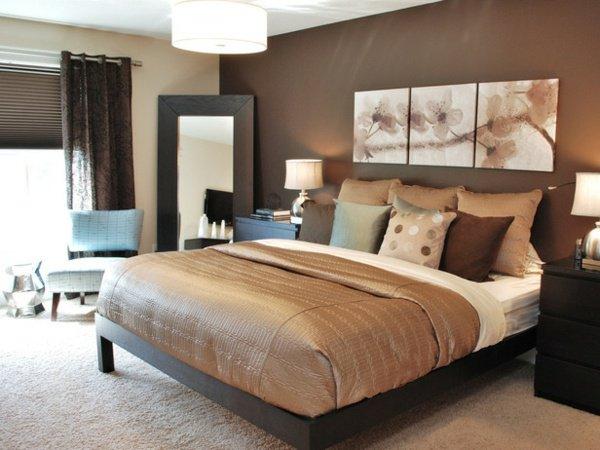 D co chambre marron et blanc exemples d 39 am nagements - Deco chambre vert et marron ...