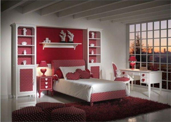 Déco chambre rouge et blanc - Exemples d\'aménagements