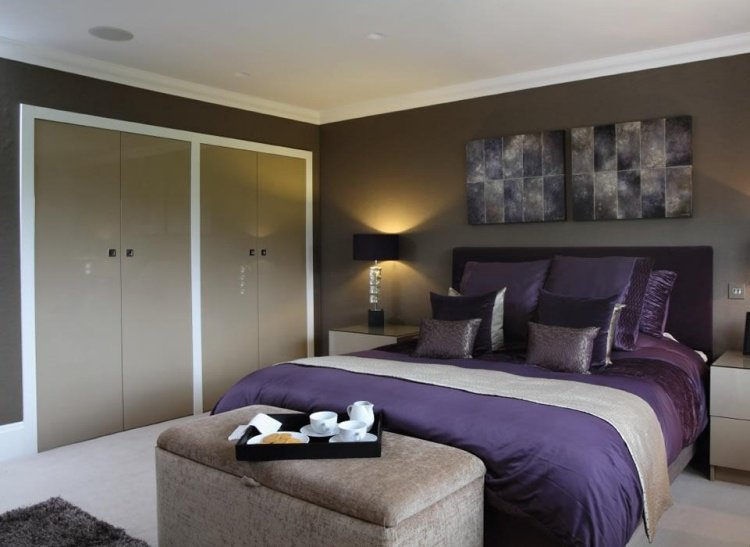 d co chambre taupe aubergine exemples d 39 am nagements. Black Bedroom Furniture Sets. Home Design Ideas