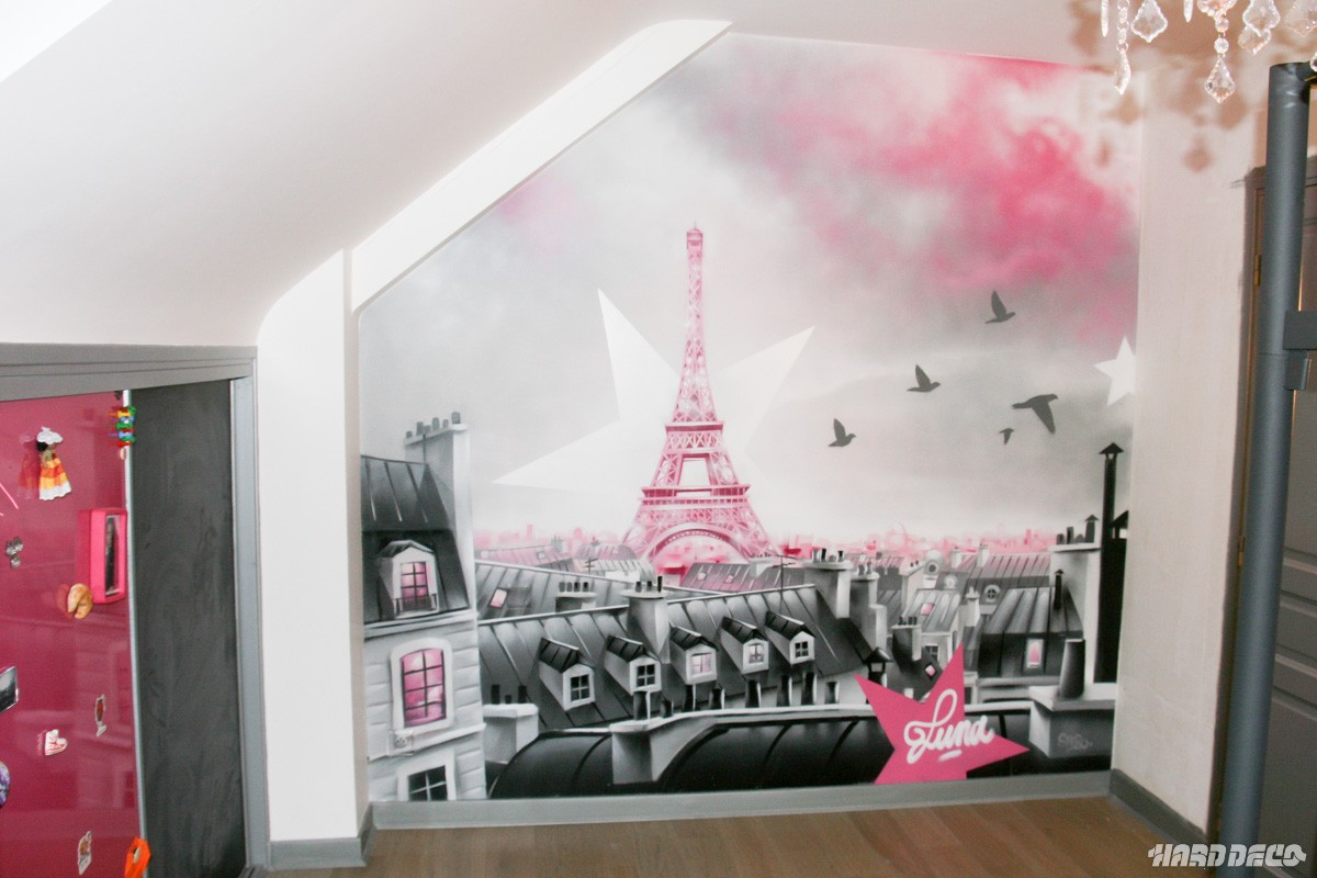 D co chambre theme paris exemples d 39 am nagements - Chambre fille paris ...