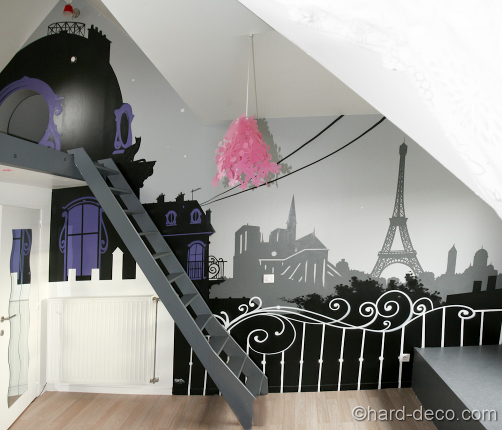 d co chambre theme paris exemples d 39 am nagements. Black Bedroom Furniture Sets. Home Design Ideas