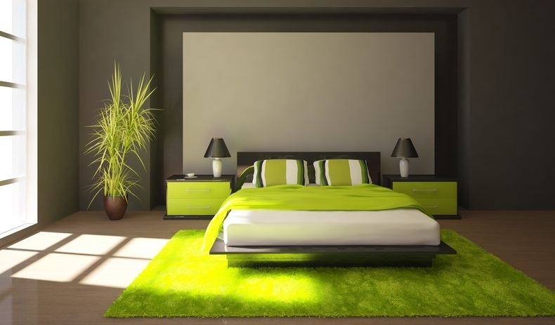 D co chambre vert et jaune exemples d 39 am nagements for Decoration maison jaune