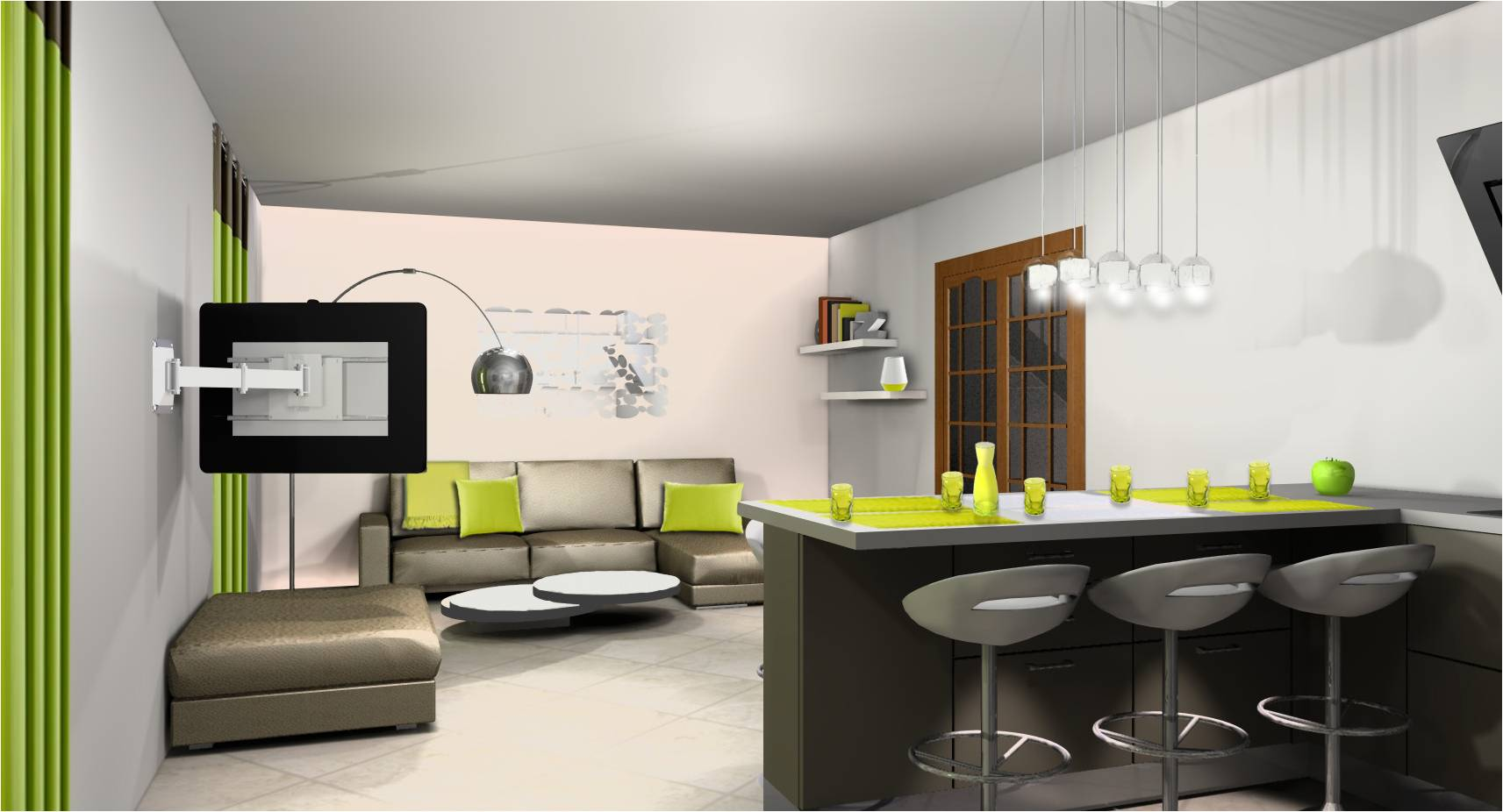 D co cuisine americaine exemples d 39 am nagements for Amenagement salon avec cuisine americaine