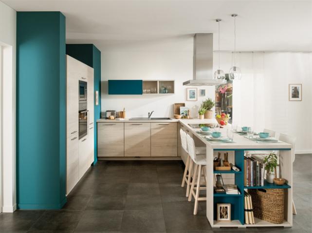 D co cuisine bleue exemples d 39 am nagements for Cuisine amenagee bleue
