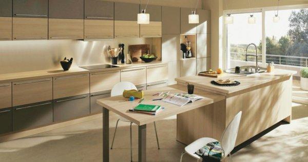 D co cuisine bois clair exemples d 39 am nagements for Ilot cuisine avec table escamotable