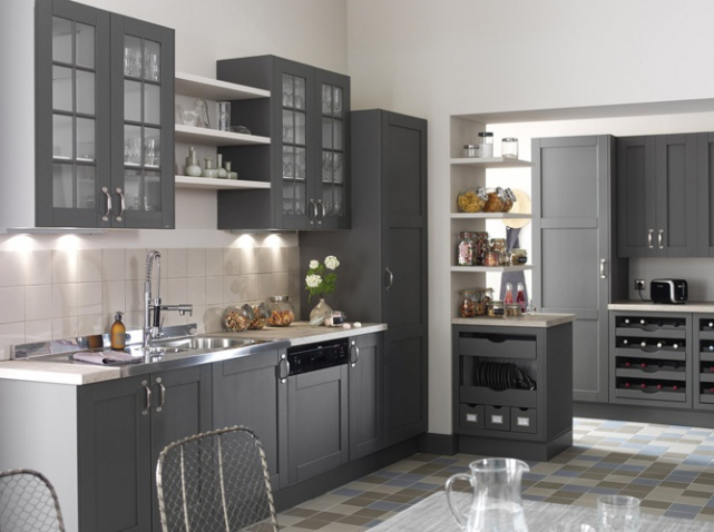 d co cuisine en gris exemples d 39 am nagements. Black Bedroom Furniture Sets. Home Design Ideas