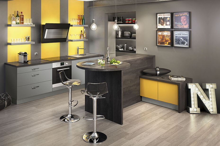 D co cuisine jaune et gris for Decoration cuisine grise