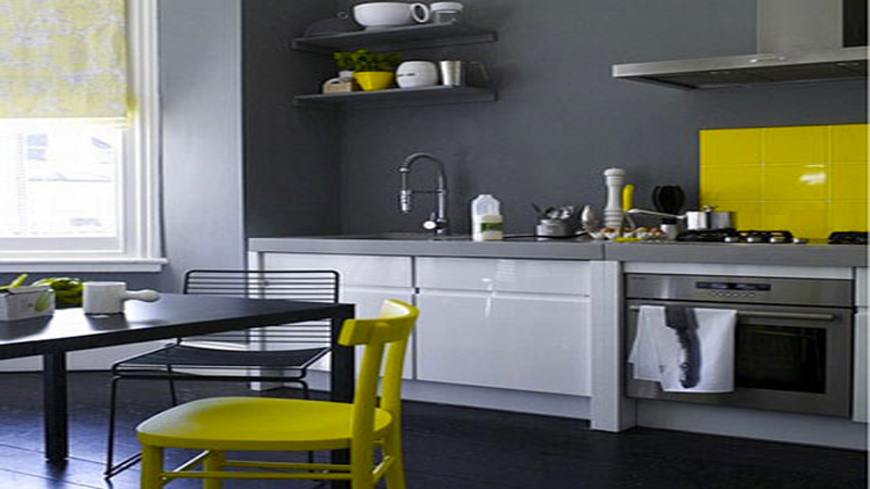D co cuisine jaune et gris exemples d 39 am nagements for Deco cuisine grise