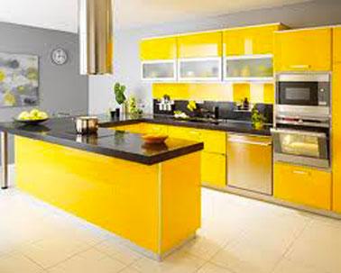 d co cuisine jaune et gris exemples d 39 am nagements