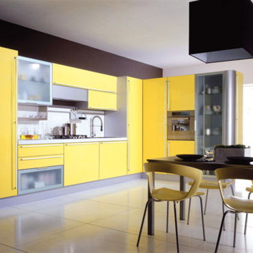 d co cuisine jaune et gris d co sphair. Black Bedroom Furniture Sets. Home Design Ideas