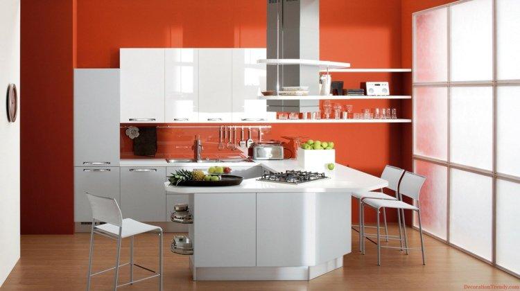 deco cuisine orange blanc - Cuisine Blanc Mur Fushia