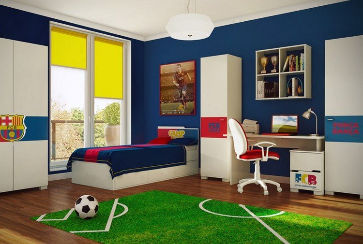 chambre d enfant garcon deco foot pour chambre garcon. Black Bedroom Furniture Sets. Home Design Ideas