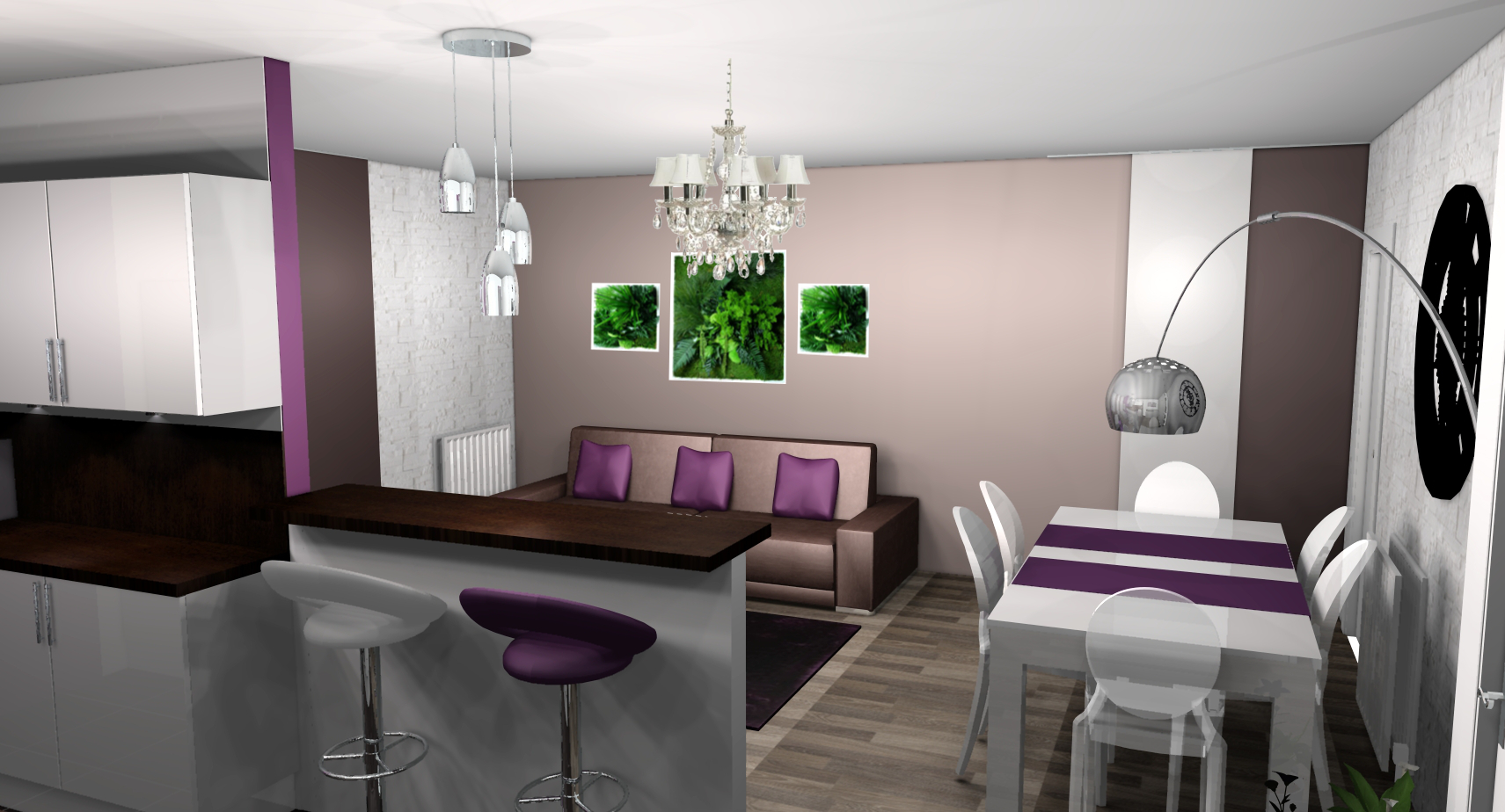 Deco salon gris blanc prune avec des id es for Salon violet et gris