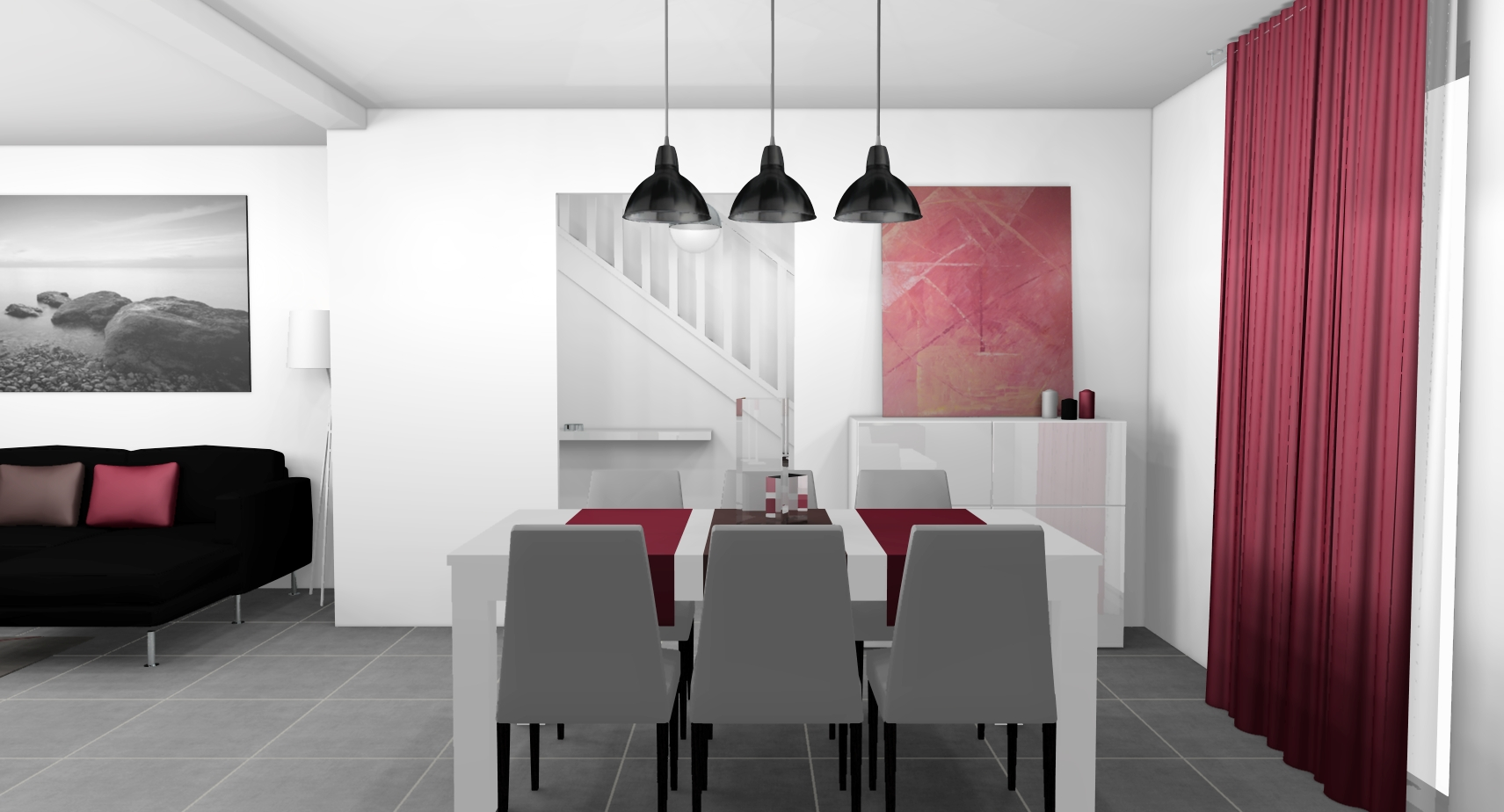 D co salle a manger rouge for Deco cuisine gris et orange