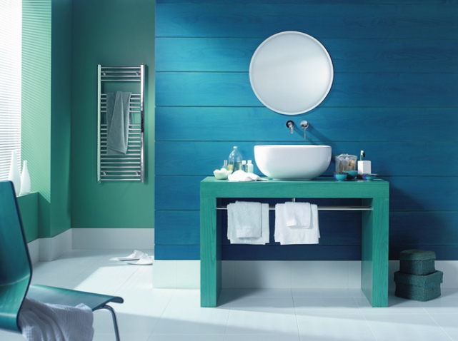 d co salle de bain bleu et vert exemples d 39 am nagements. Black Bedroom Furniture Sets. Home Design Ideas