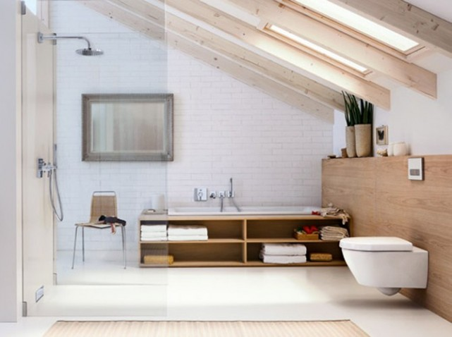 D co salle de bain combles exemples d 39 am nagements - Salle de bains sous combles ...