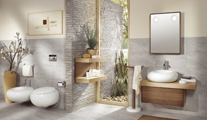 D co salle de bain en galet exemples d 39 am nagements for Deco fr salle de bain