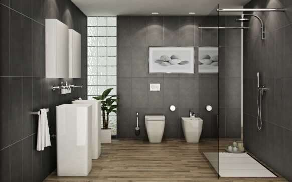Déco salle de bain en gris - Exemples d\'aménagements
