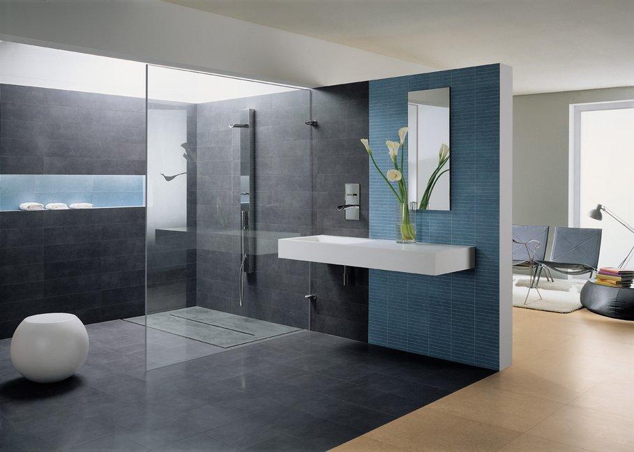 D co salle de bain gris et aubergine exemples d 39 am nagements - Salle de bain bois et gris ...