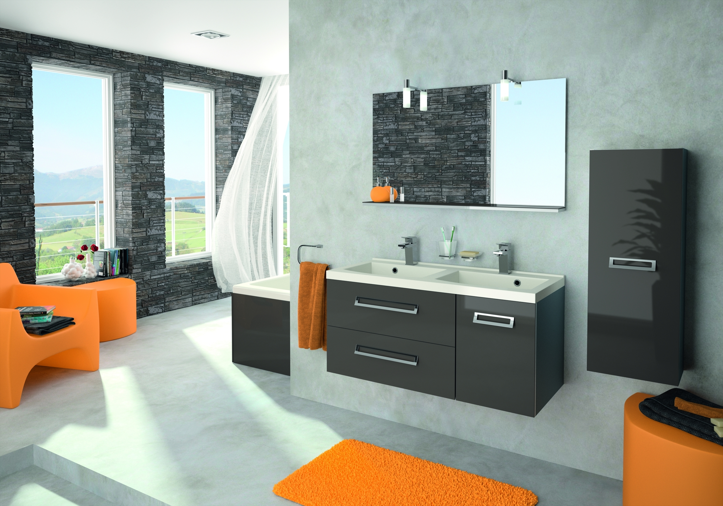 d co salle de bain gris et aubergine exemples d 39 am nagements. Black Bedroom Furniture Sets. Home Design Ideas