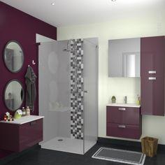 D co salle de bain gris et aubergine exemples d 39 am nagements - Meuble de salle de bain aubergine ...