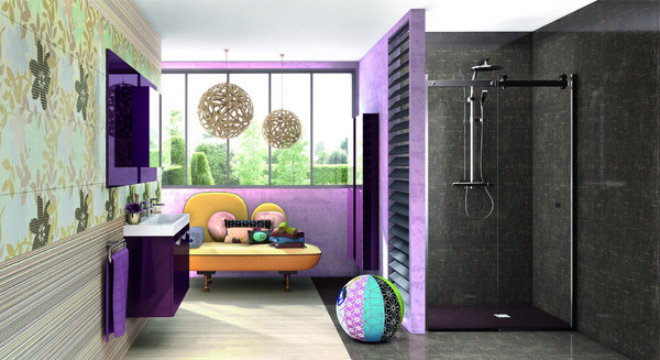 salle de bain gris et prune. Black Bedroom Furniture Sets. Home Design Ideas