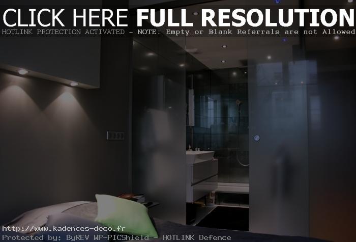 idée déco salle de bain ouverte sur chambre