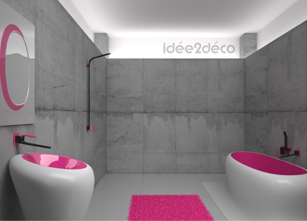 D co salle de bain en rose for Deco salle de bain rose et gris