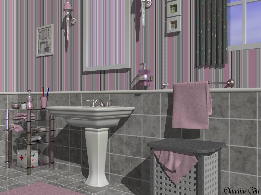 D co salle de bain rose et gris exemples d 39 am nagements for Deco rose et gris