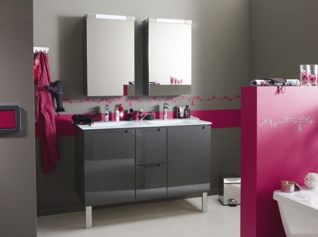 d co salle de bain rose et gris exemples d 39 am nagements. Black Bedroom Furniture Sets. Home Design Ideas