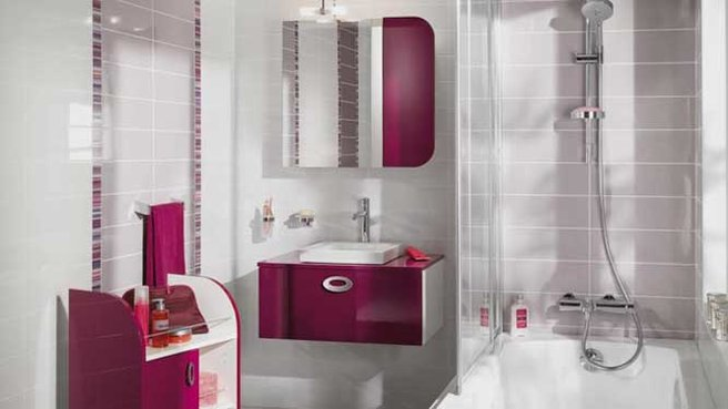 D co salle de bain rose et gris exemples d 39 am nagements for Carrelage salle de bain gris rose
