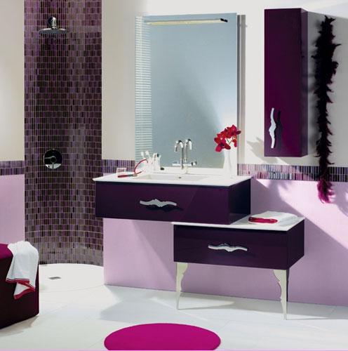 d co salle de bain vert et prune exemples d 39 am nagements. Black Bedroom Furniture Sets. Home Design Ideas