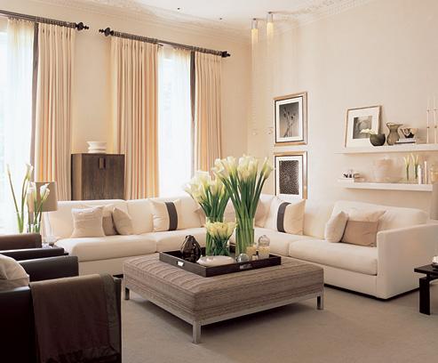 Déco salon couleur sable - Exemples d\'aménagements