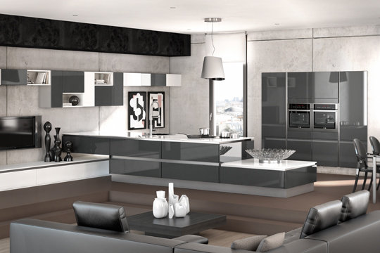 d co salon cuisine moderne exemples d 39 am nagements. Black Bedroom Furniture Sets. Home Design Ideas