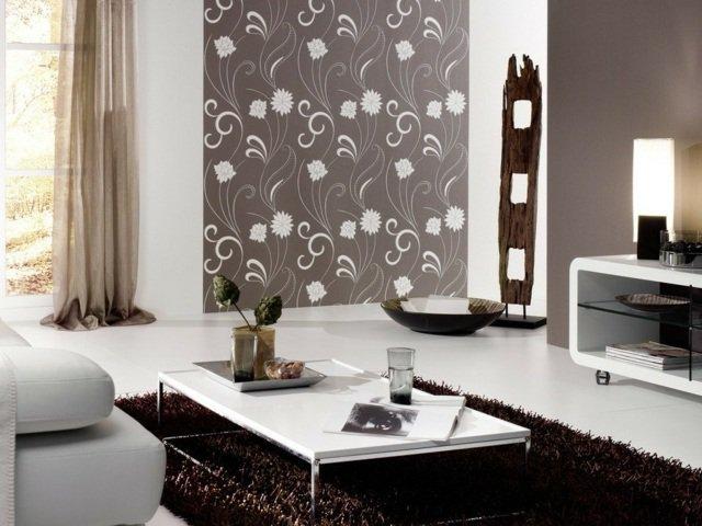 D co salon en papier peint exemples d 39 am nagements - Deco salon papier peint ...