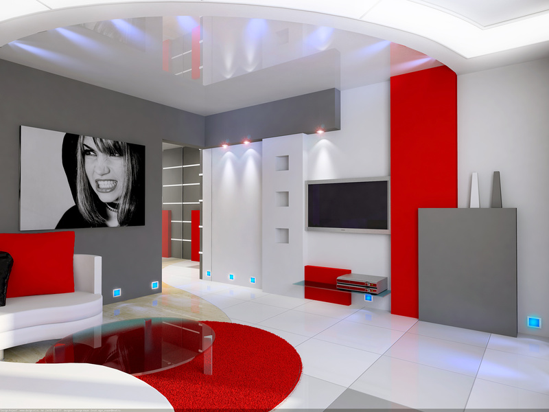 D co salon gris blanc et rouge exemples d 39 am nagements - Deco salon gris et blanc ...