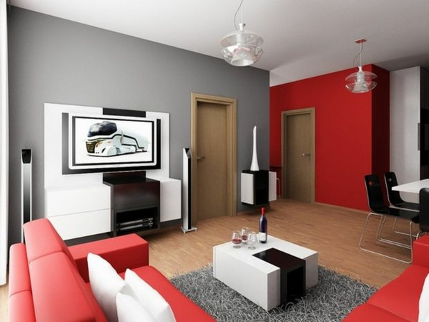 d co salon gris blanc et rouge exemples d 39 am nagements. Black Bedroom Furniture Sets. Home Design Ideas