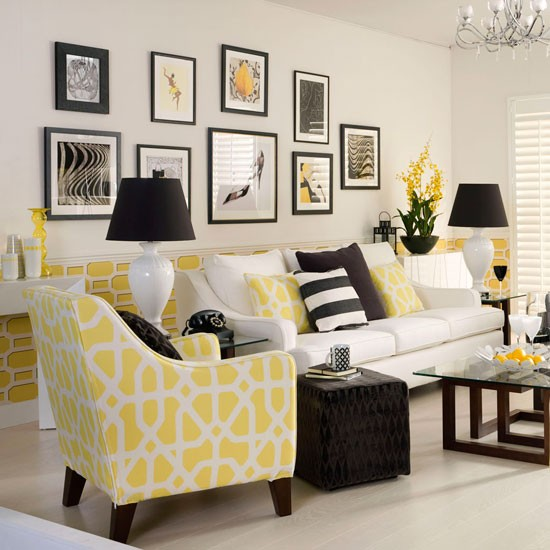d co salon jaune exemples d 39 am nagements. Black Bedroom Furniture Sets. Home Design Ideas