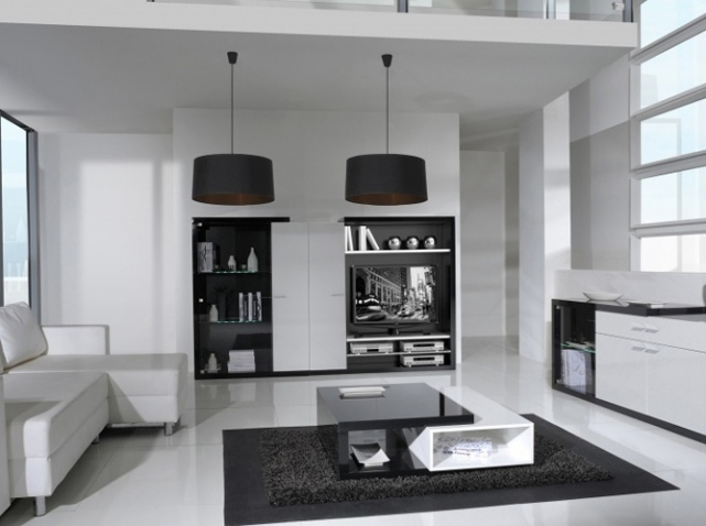 d co salon meuble noir exemples d 39 am nagements. Black Bedroom Furniture Sets. Home Design Ideas