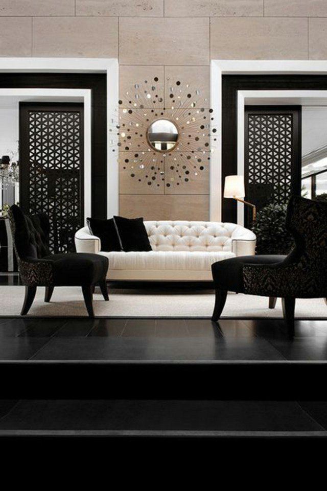 d co salon noir blanc beige exemples d 39 am nagements. Black Bedroom Furniture Sets. Home Design Ideas
