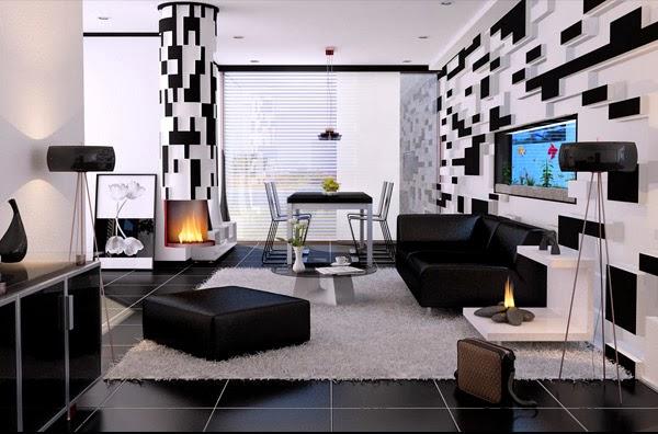 d co salon noir et blanc exemples d 39 am nagements. Black Bedroom Furniture Sets. Home Design Ideas
