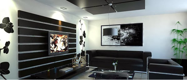 D co salon noir et blanc exemples d 39 am nagements for Meuble salon noir et blanc