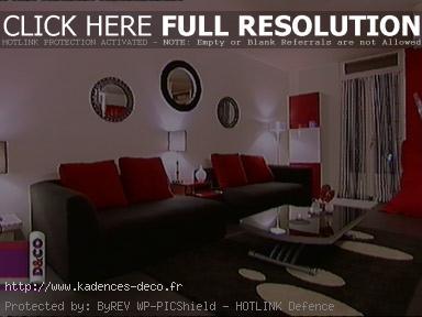 Déco salon rouge gris blanc - Exemples d\'aménagements