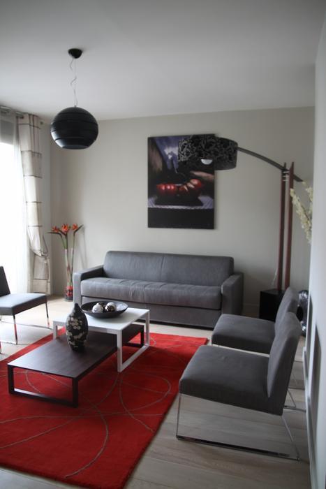 d co salon rouge gris blanc exemples d 39 am nagements. Black Bedroom Furniture Sets. Home Design Ideas