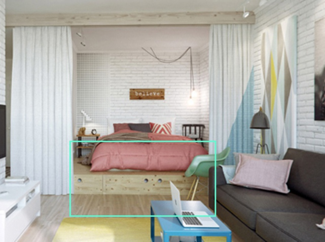 D co studio chambre exemples d 39 am nagements for Idee separation chambre salon