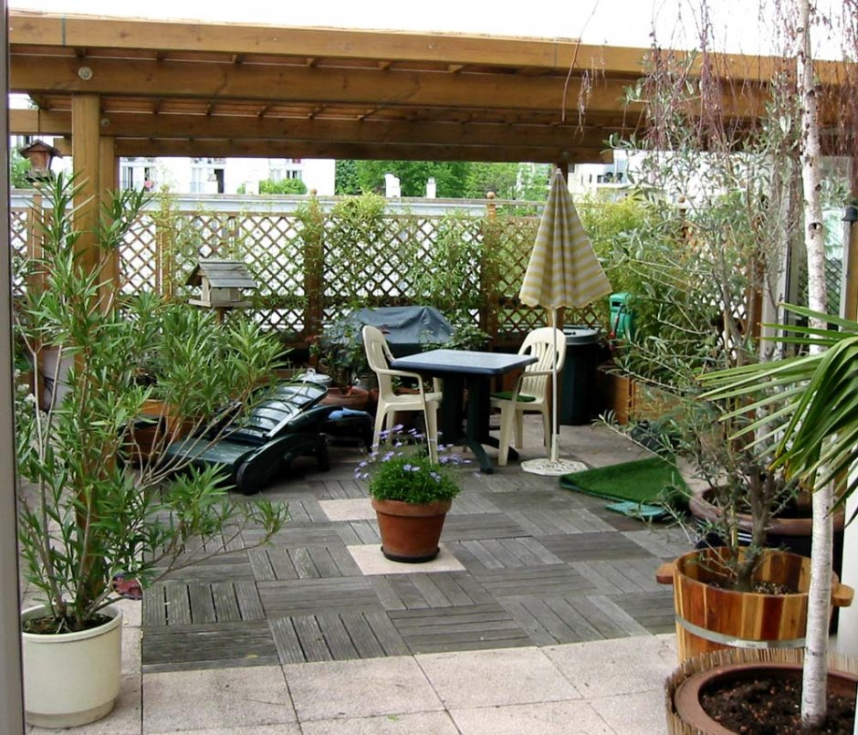 D co terrasse plein sud exemples d 39 am nagements for Decoration terrasse