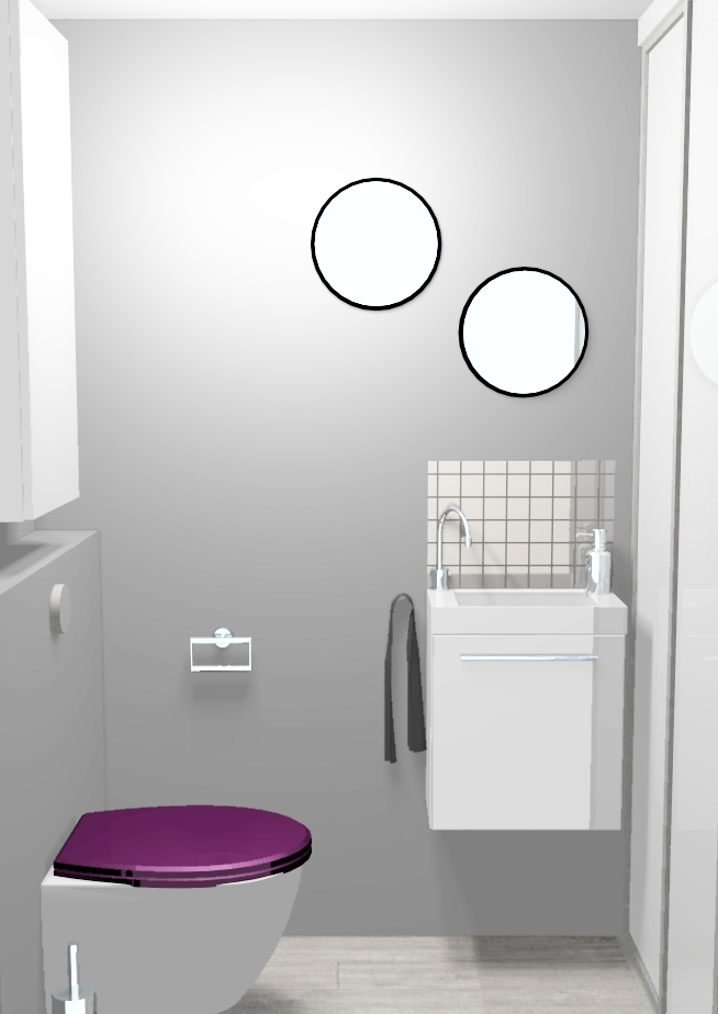 D co toilettes prune et gris - Decoration toilette gris ...