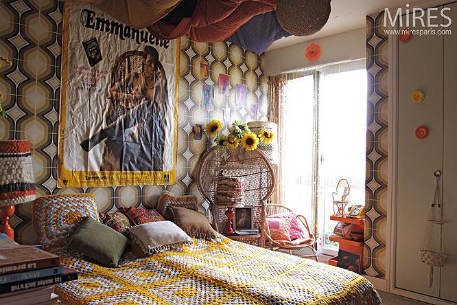 d coration chambre annee 70 exemples d 39 am nagements. Black Bedroom Furniture Sets. Home Design Ideas